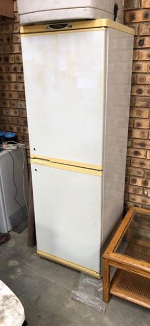 Yellow and white fridge for sale