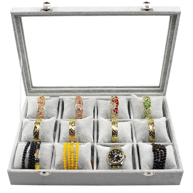 Hazlo 12 Grid Watch Jewellery Display Case Box - Grey Ice Velvet