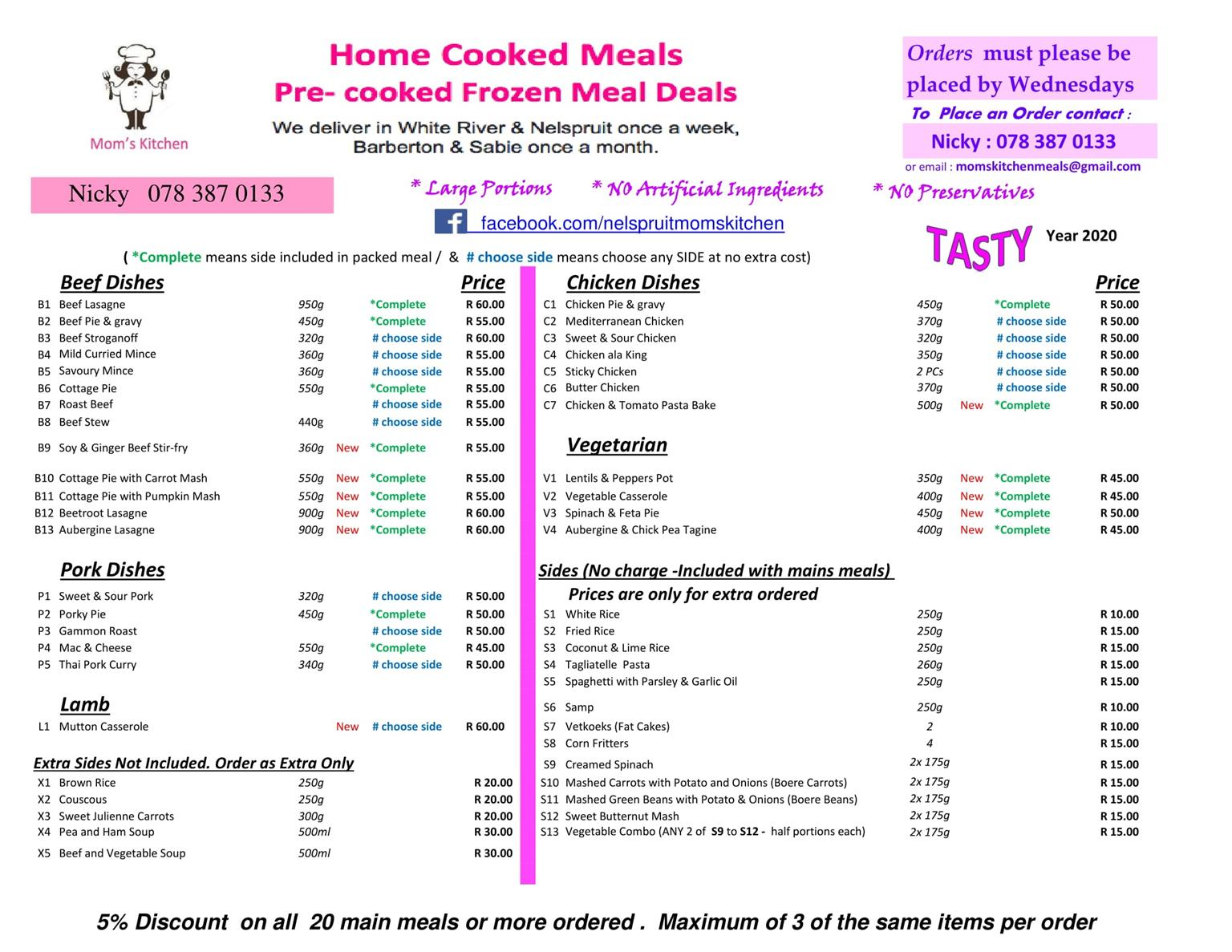 Frozen Meals Delivered in Mpumalanga - FREE DELIVERY