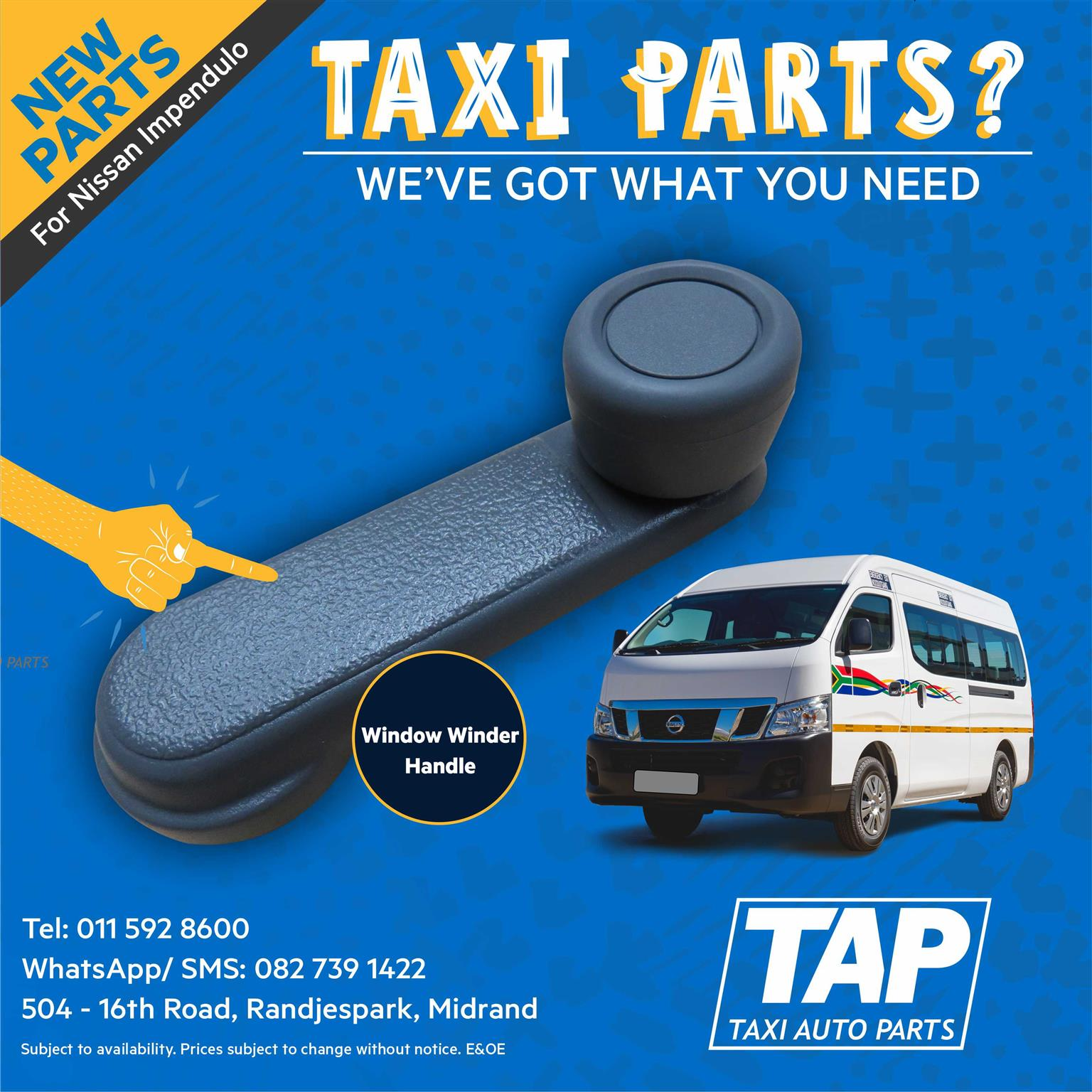 Window Winder Handle - NEW Parts for Nissan Impendulo -Taxi Auto Parts - TAP