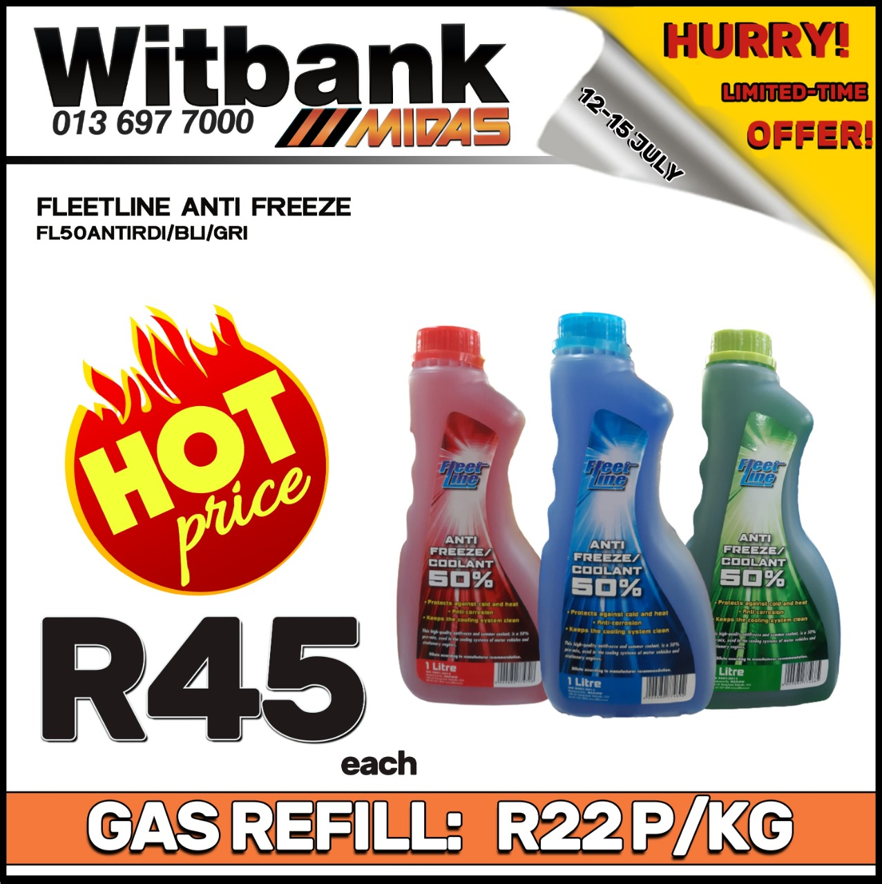 Fleetline Antifreeze 1L ONLY at Midas Witbank!