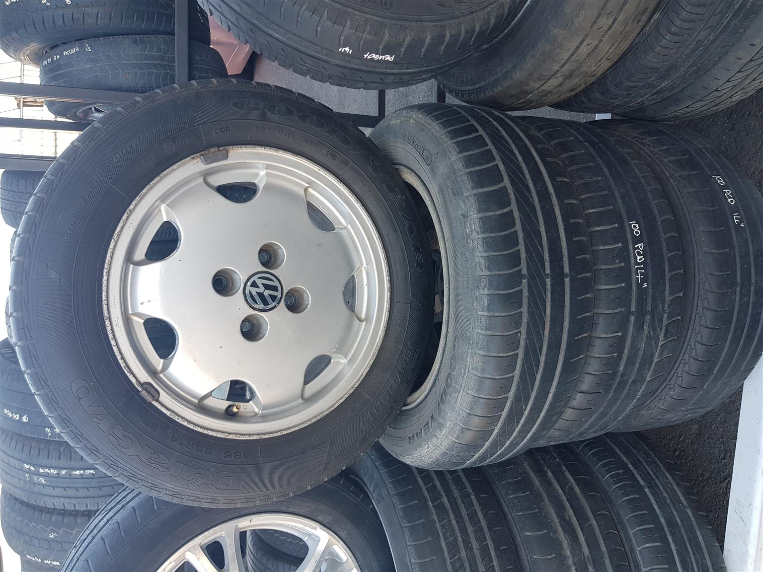 VW mag rims and tyres 100 PCD 14 inch for sale.