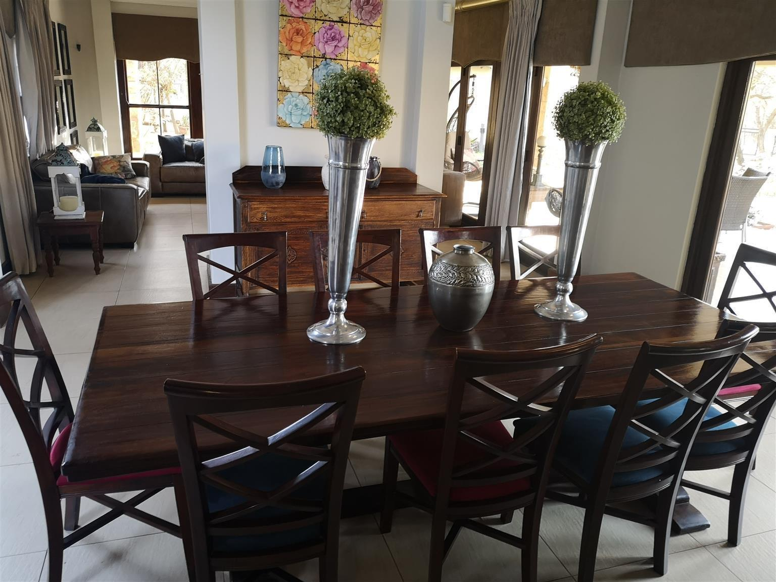 Picture of: 10 Seater Saligna Wood Dining Table Chairs And Side Board Junk Mail
