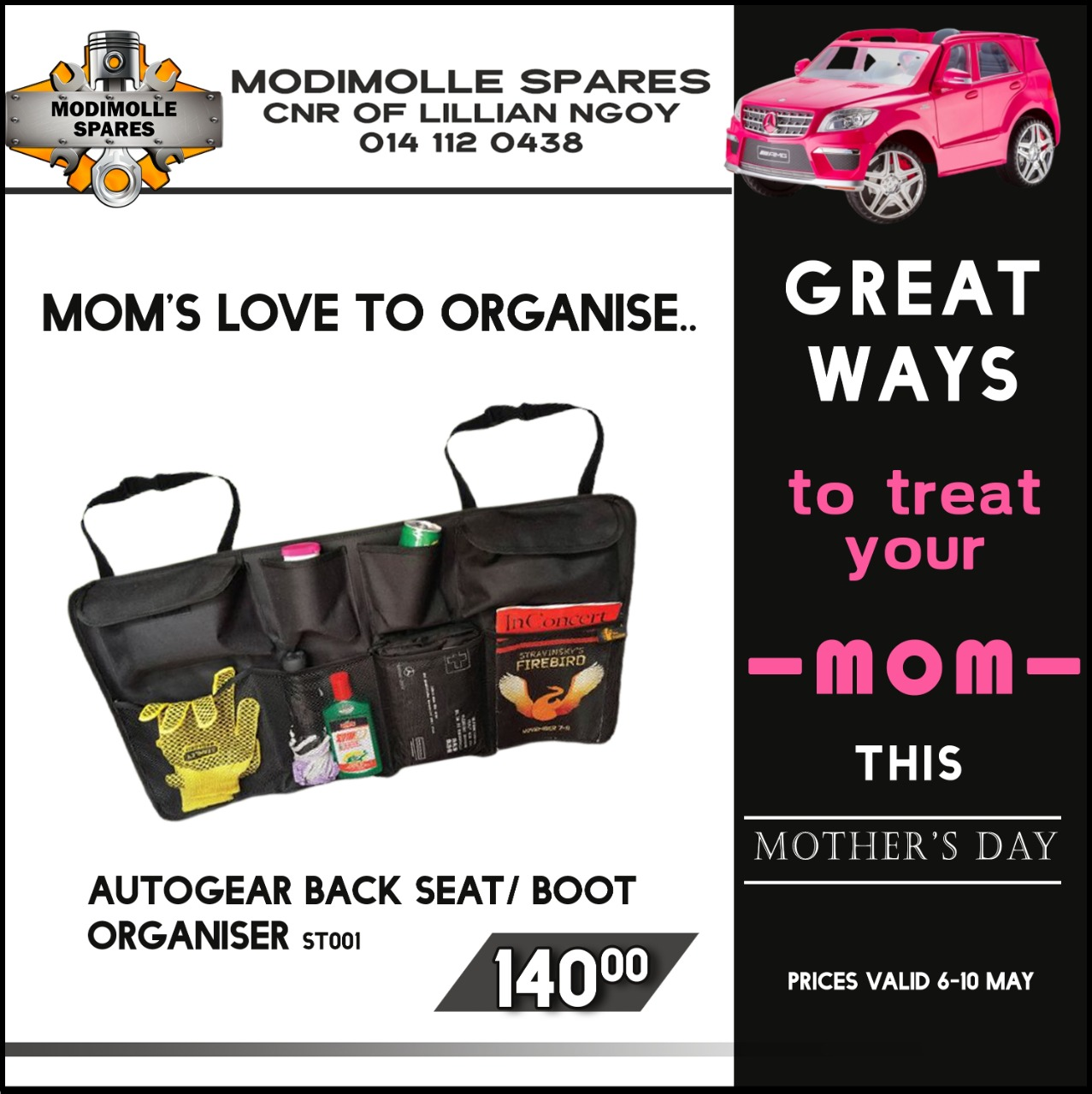 Great ways to Treat your Mom this Mother's Day at Modimolle Spares!