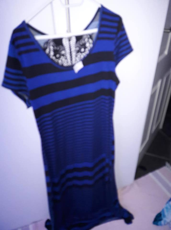 DARK BLUE AND BLACK STRIPED SUMMER DRESS