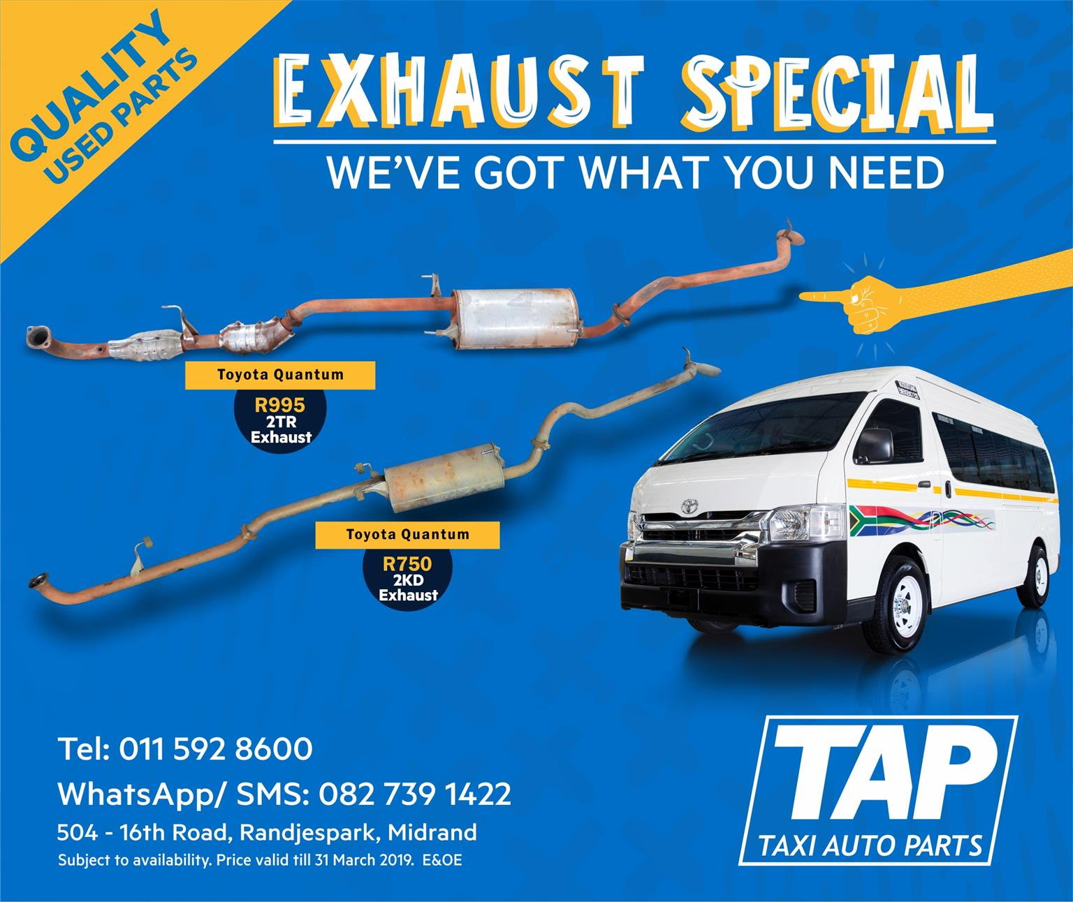 EXHAUST SPECIAL - Toyota Quantum quality used 2TR / 2KD Exhaust - Taxi Auto Parts TAP