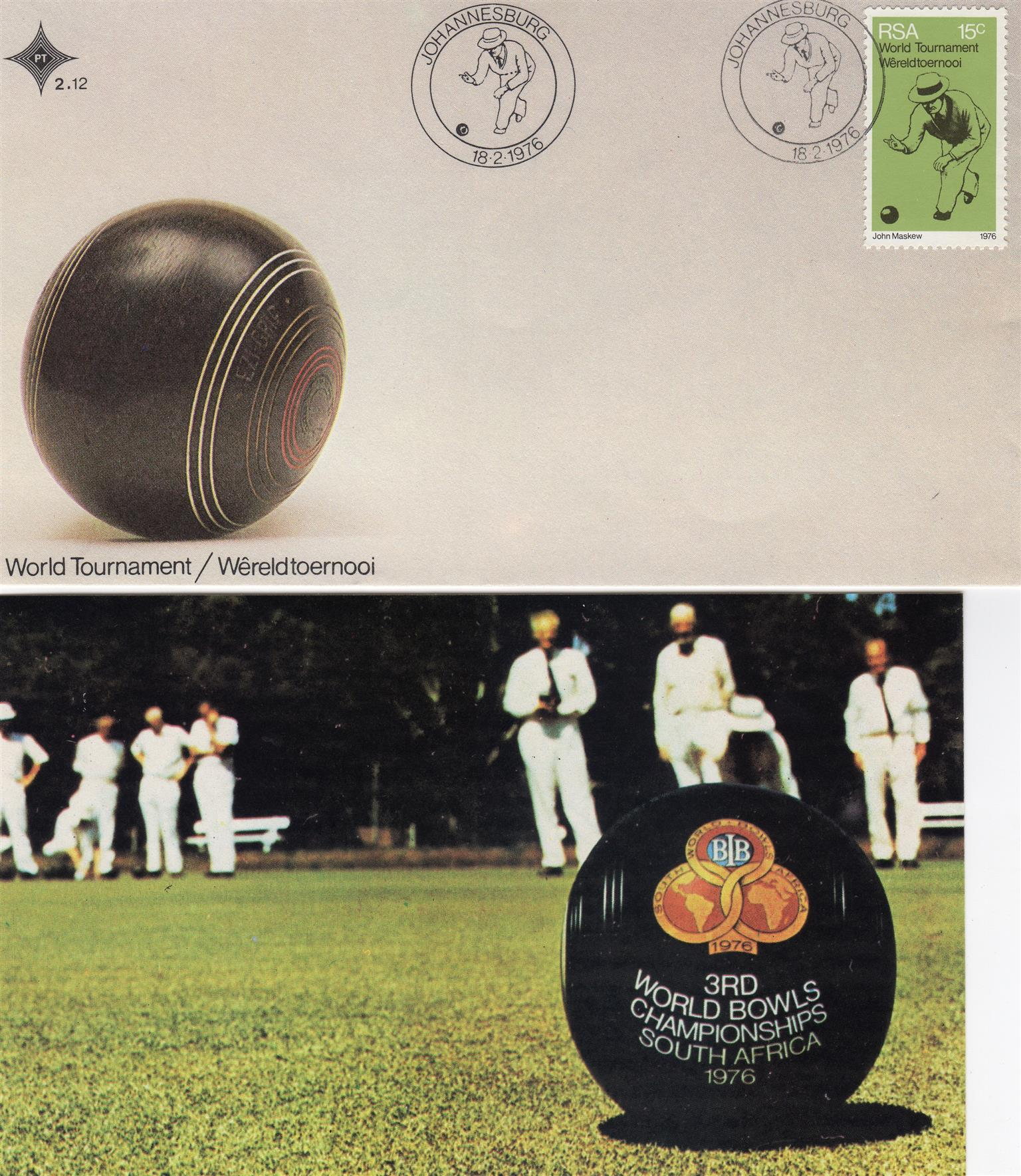 Commemorative Stamp & Envelope Set - World Bowls Tournament 1976