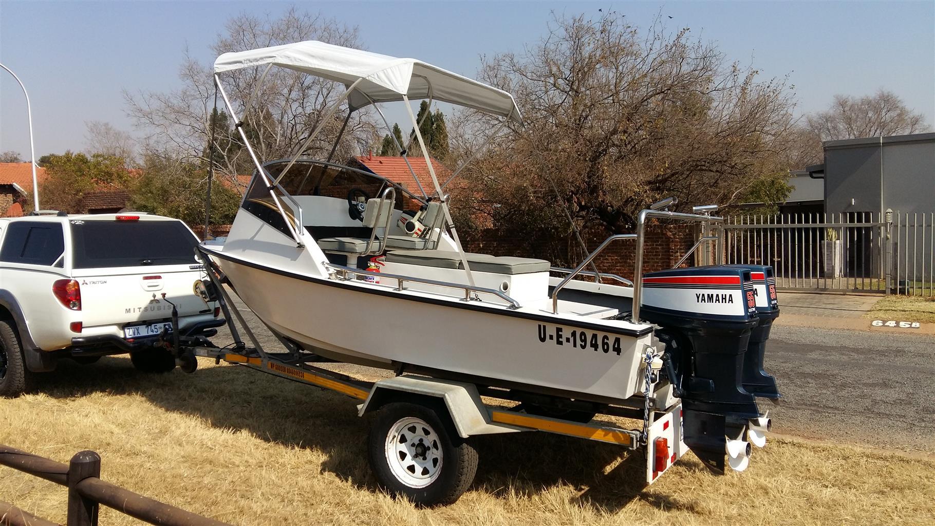 5m deep sea fishing boat 2x 55hp Yamaha's