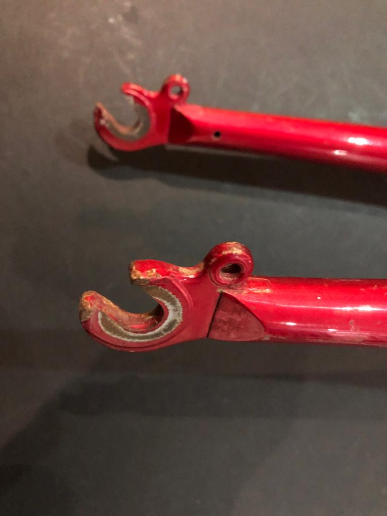 Old school Mountain bike fork in metallic red - ideal for a retro bike rebuild project!