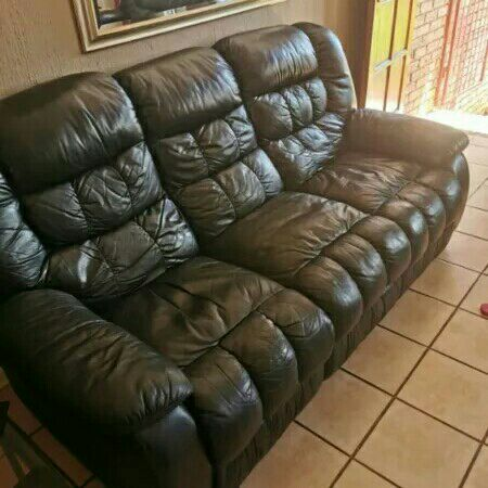 genuine leather recliner set