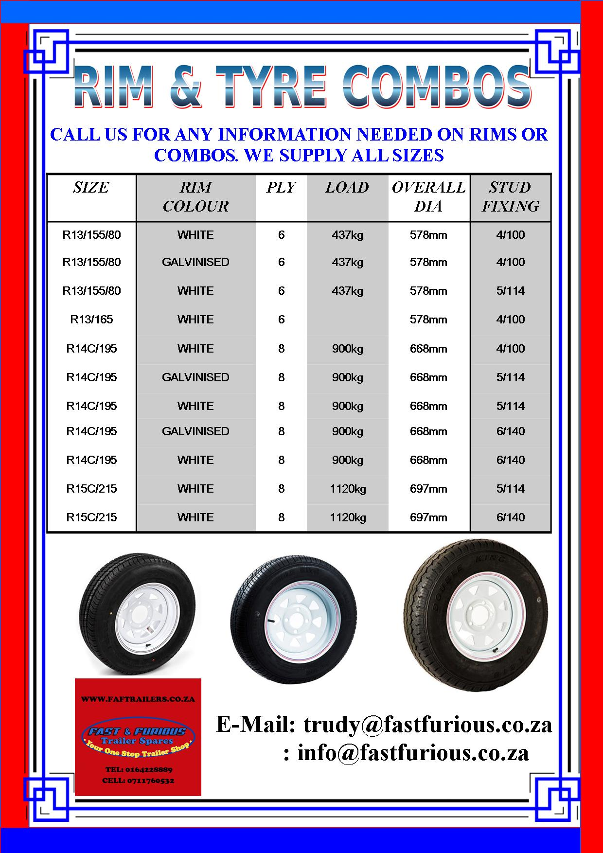 SPECIALS ON RIM AND TYRES