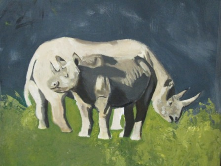 African Rhino Acrylic Painting  - MAKE ME AN OFFER