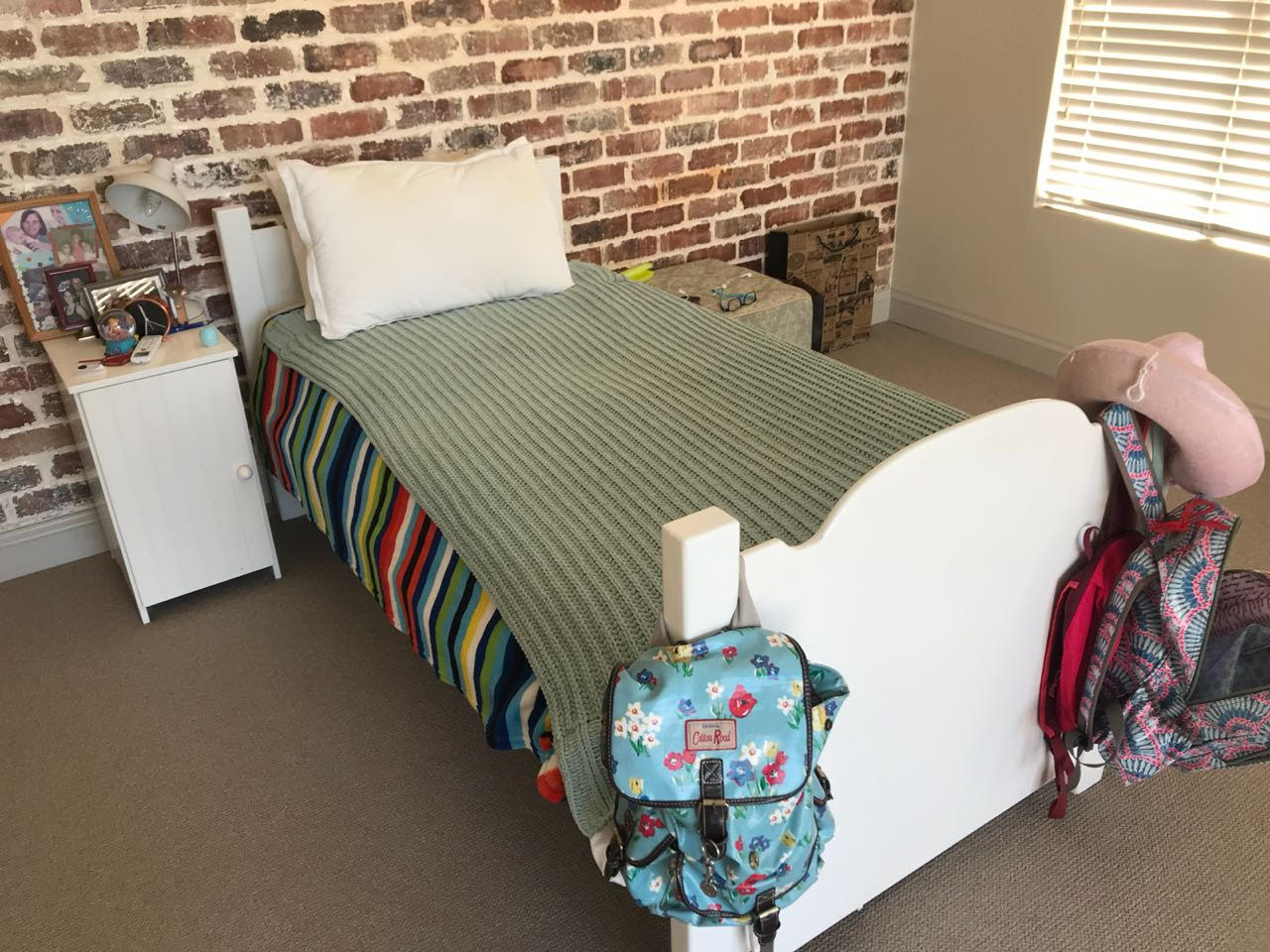 White single bed and other items