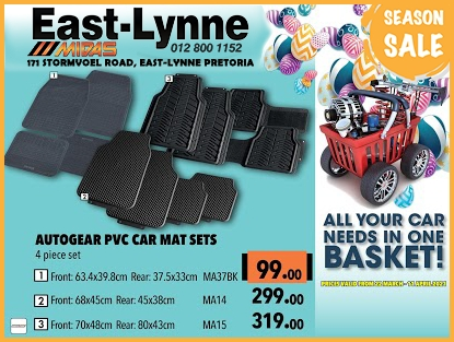 Autogear PVC Car Mat Sets at these low prices!