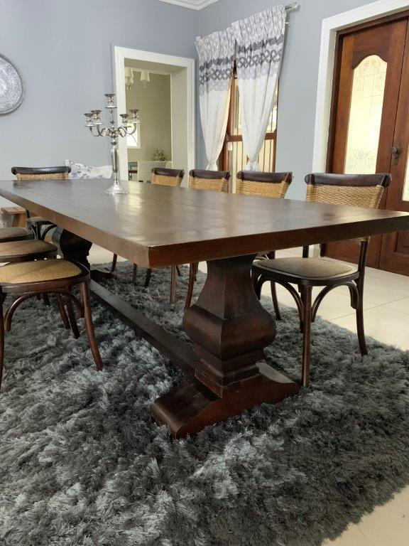 CORICRAFT SOLID DINING ROOM SUITE. FARM TABLE with AMALFI CHAIRS x 10. Farm SOLID WOOD Dark Brown Dining Table