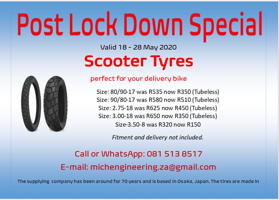 Delivery bike tyres at discounted rates