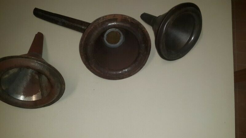 metal strainer funnels sell as one lot of 3 old style