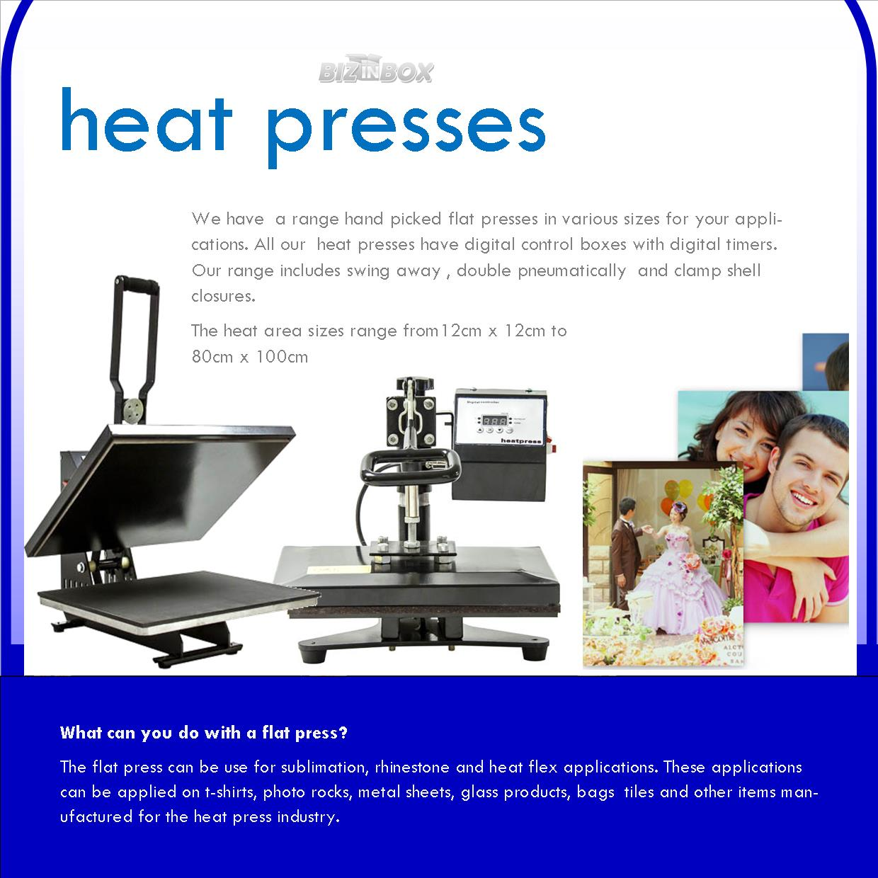 Assorted heat presses,vinyl cutters, embroidery machines and printers