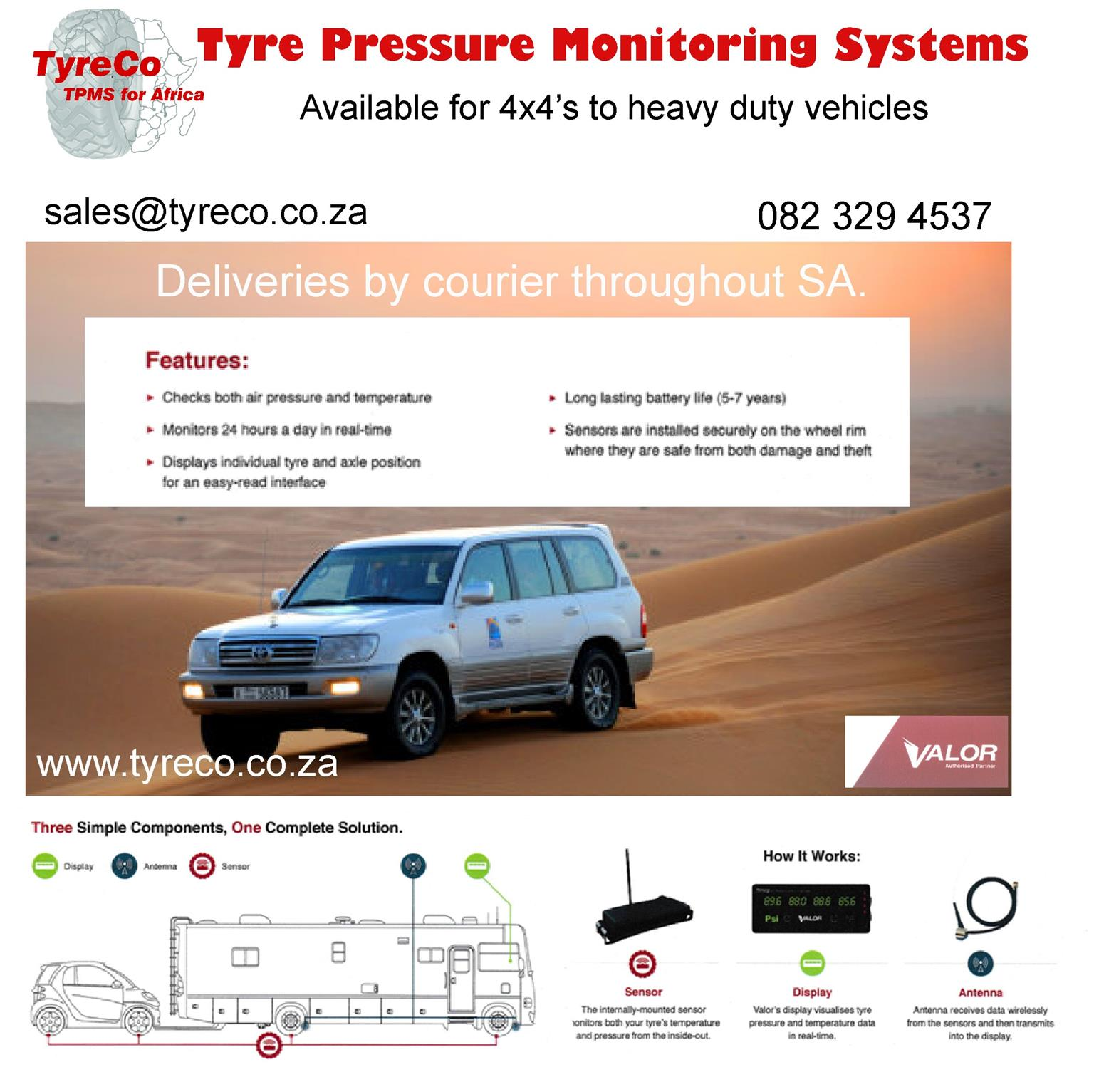 Tyre Pressure Monitoring systems for most vehicles. GB6 kits available ( 6 sensors).