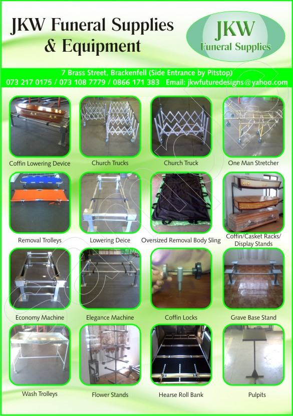 FUNERAL EQUIPMENT FOR SALE LOWERING DEVICES, CHURCH TROLLEYS AND MANY MORE