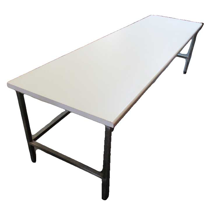 White steel frame desk straight