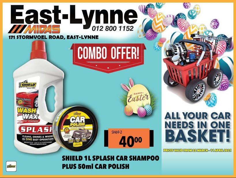 Shield 1L Splash Car Shampoo PLUS 50ml Car Polish ONLY R40