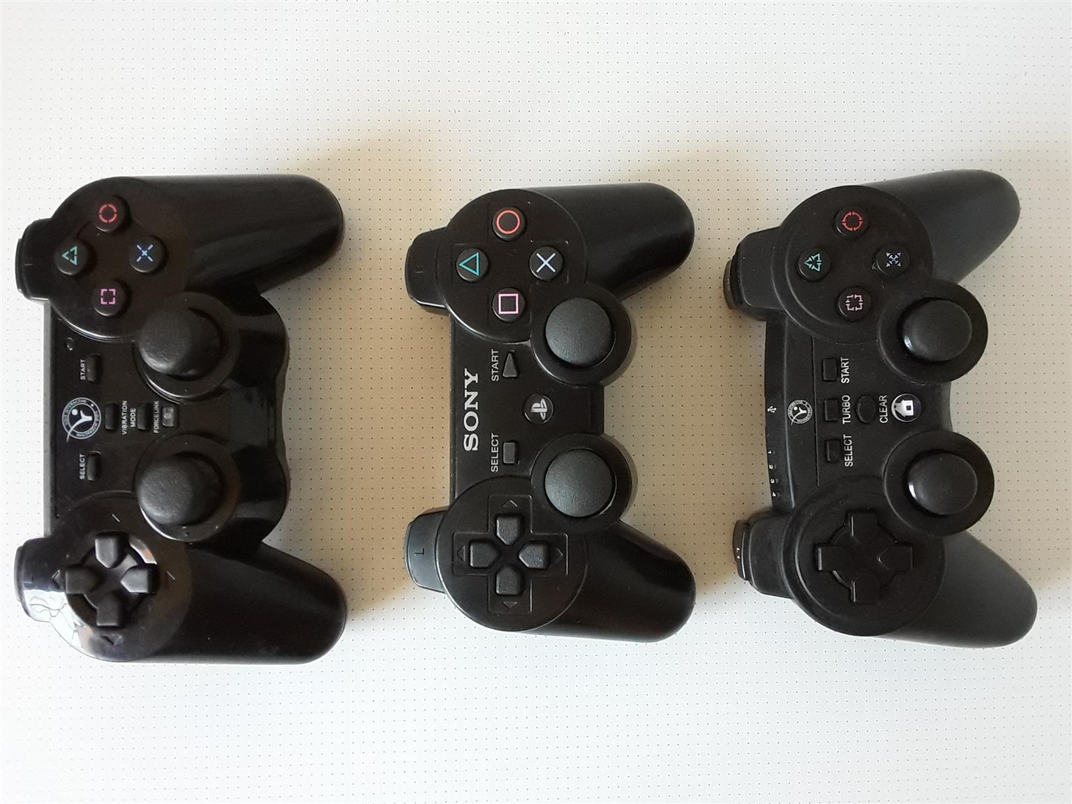 PS3 Controllers. Three to choose from.  or R1000 for all. I am in Orange Grove
