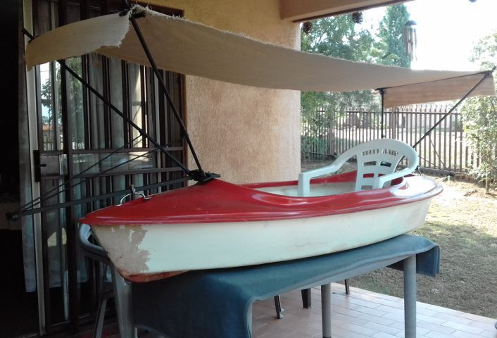 Canoe with canopy