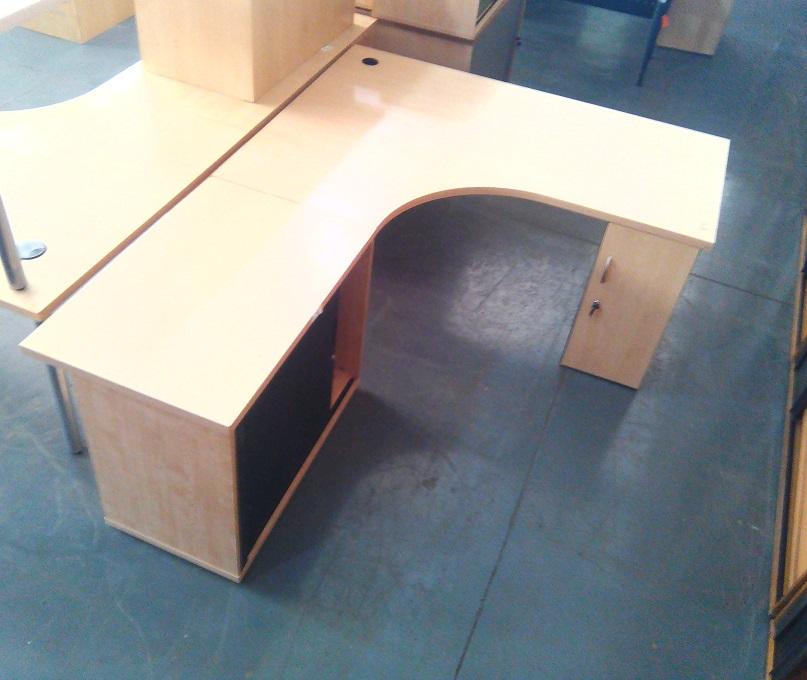 L shape desk plus credenza and 1 door cabinet