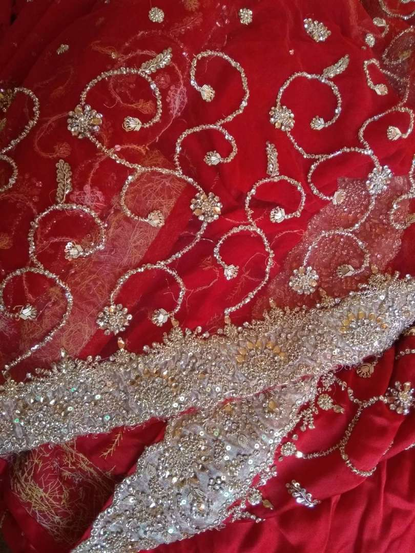 Red and gold Saree