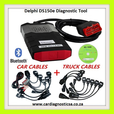 Truck and Car tool: Delphi DS150E Pro Diagnostic Tool Bluetooth with Car and Truck Adapters comes in a CASE