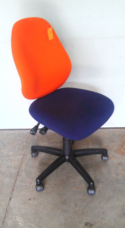 Orange and Blue typist chair no arms