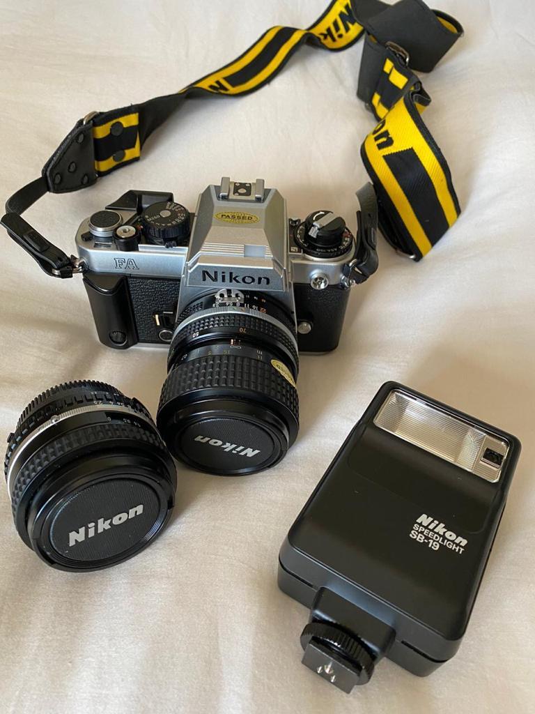 Nikon FA Film camera + lens and flash + Nikon camera bag - suited to film and photography students
