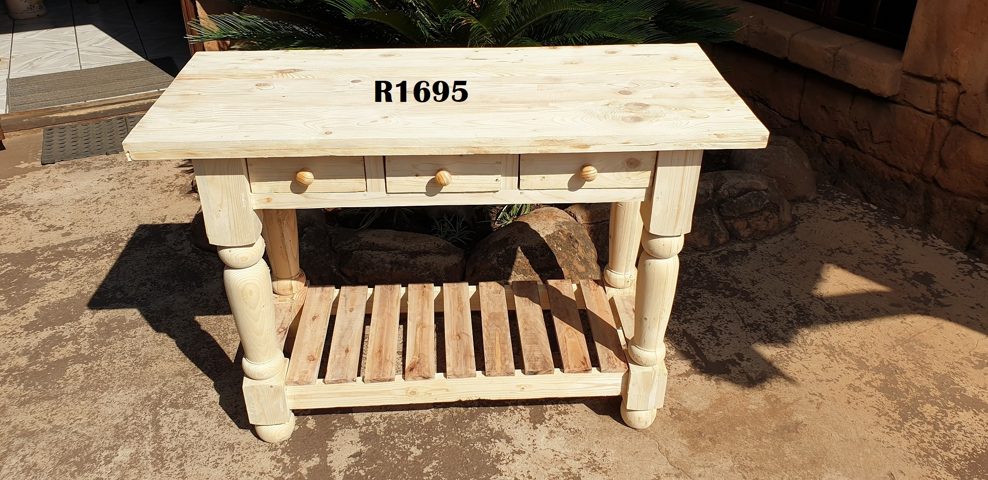 Solid Pine Server Table or Kitchen Isle (Drawers opens on both sides (1200x500x855)