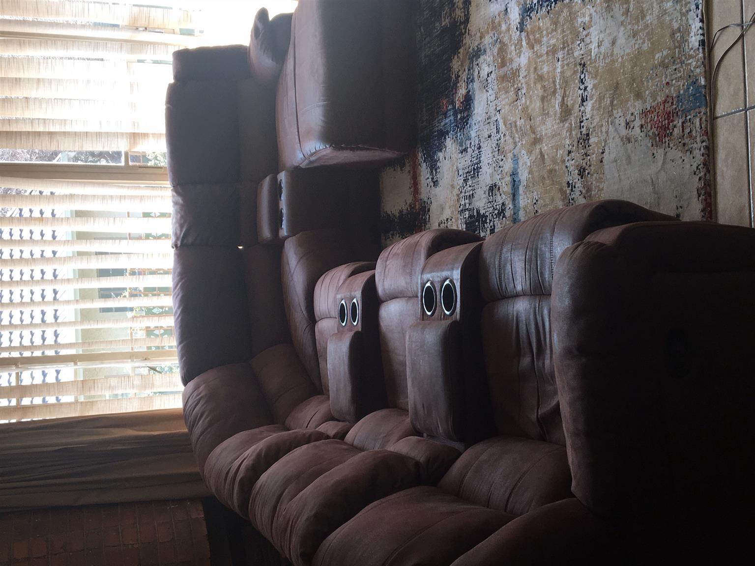 Brown suede corner suite 5-7 seater