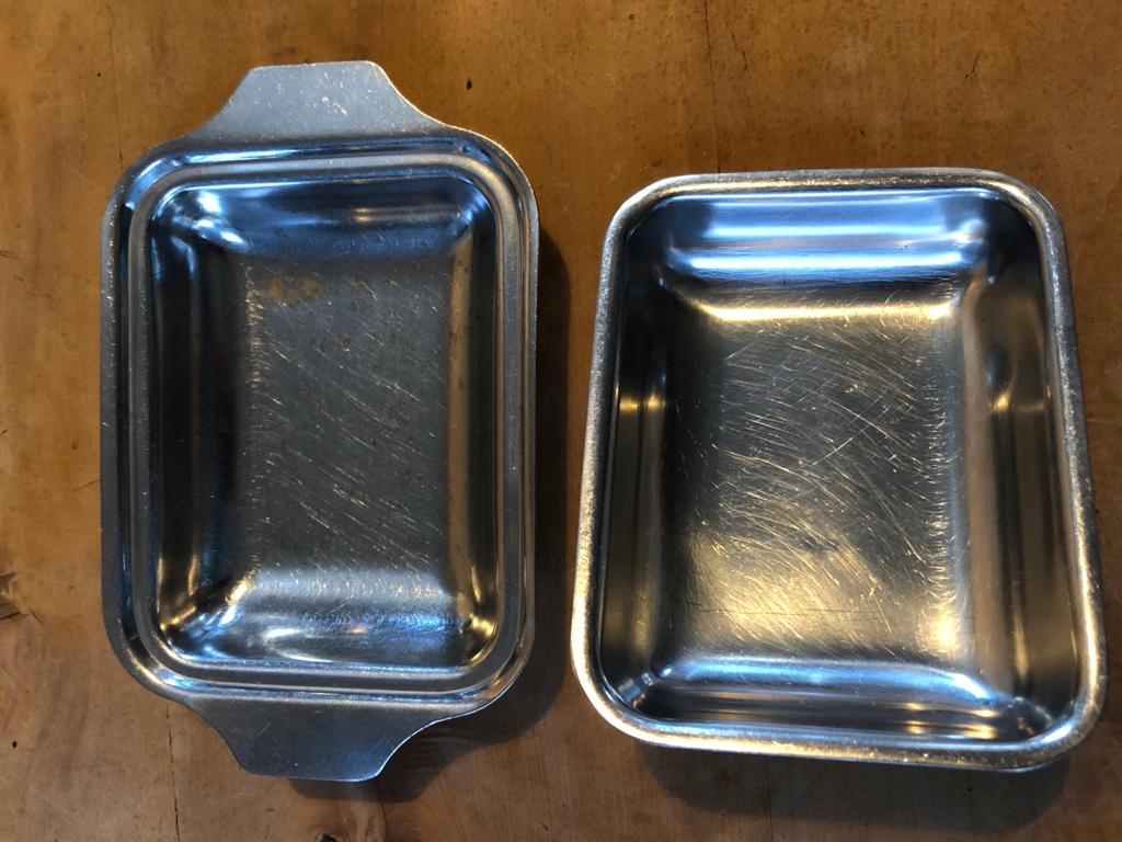Classic old school / retro Stainless Steel butter dish / cheese dish