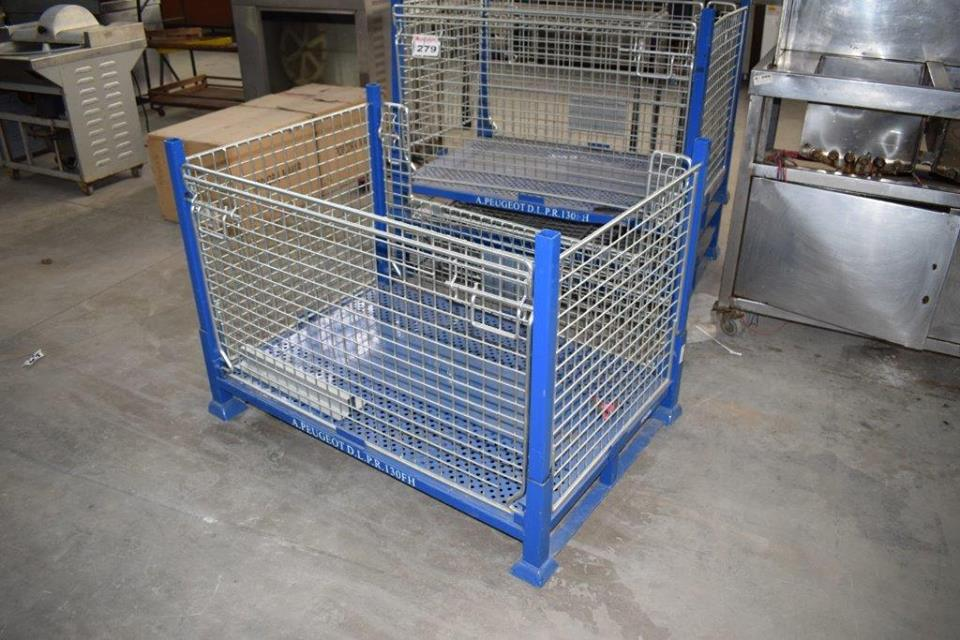 Blue and white storage cages