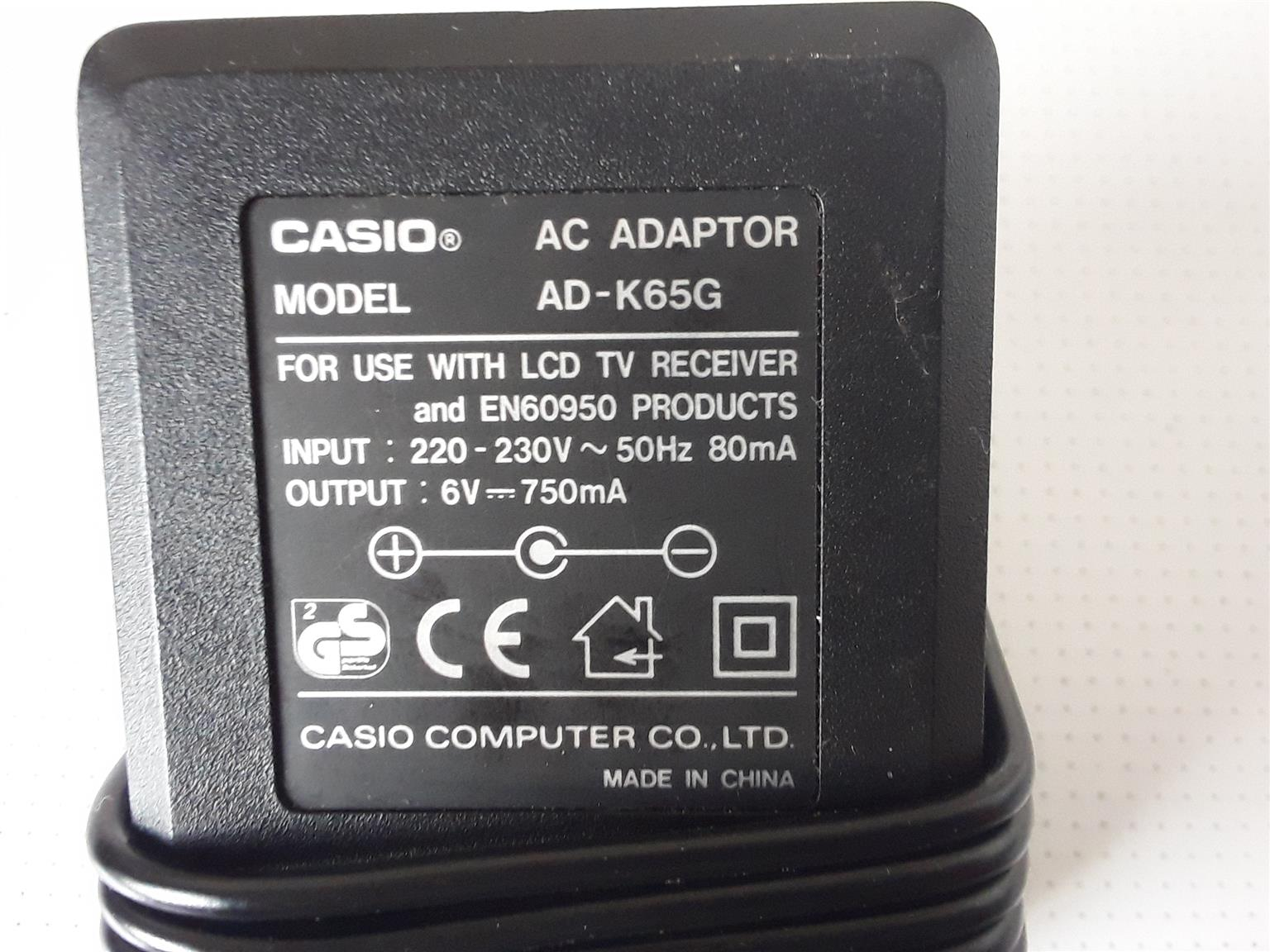 CASIO AC Adaptor Model AD-K65G for use with LCD TV Receiver and EN60950 Products