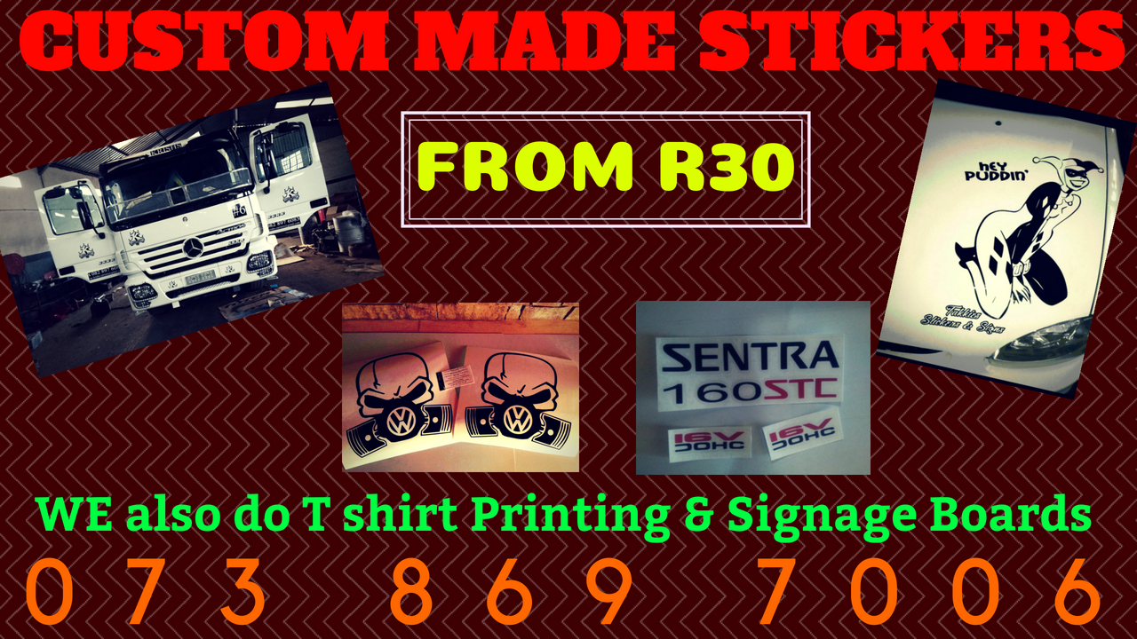 T shirt printing signage boards custom stickers