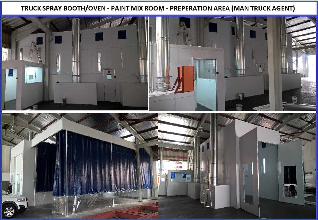 SPRAY BOOTH/AREA DUST CONTAINMENT- PVC CURTAIN SYSTEM .Suspended or pole mount