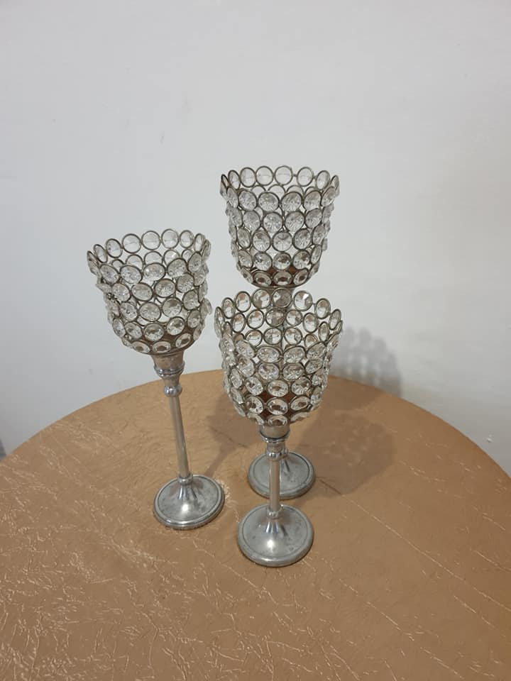 Sherry glass shaped candle holders