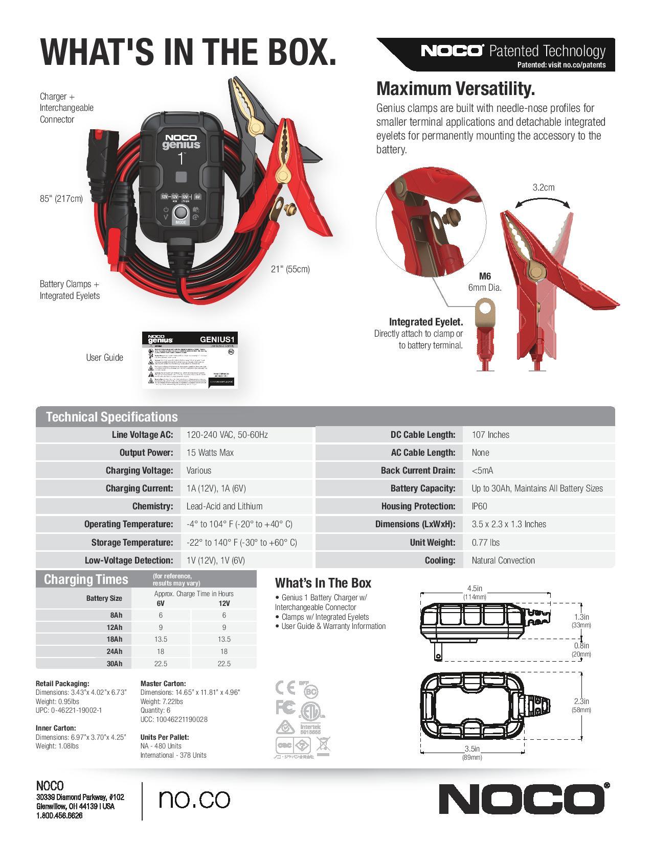 NOCO GENIUS1 6V/12V 1-Amp Smart Battery Charger - Maiden Electronics
