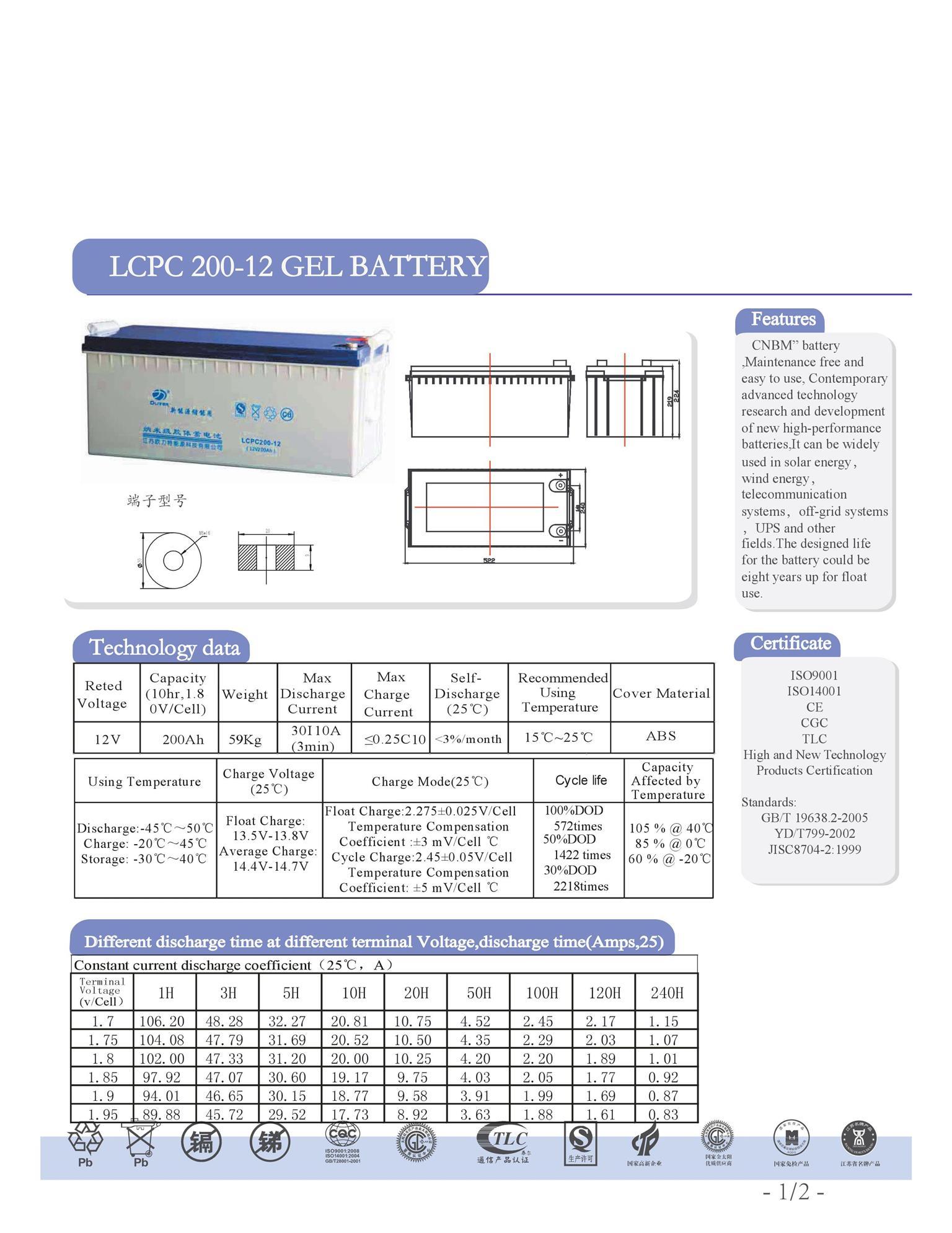 Oliter 200ah 12V Gel Solar Battery
