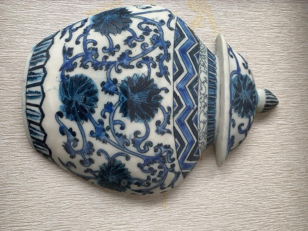 Beautiful Decor Piece: Framed Blue Ceramic Pot