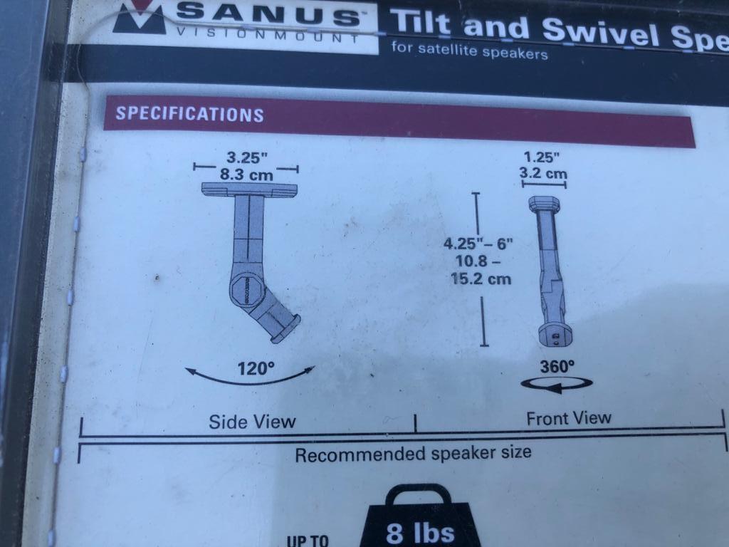 Stylish Sanus Tilt & swivel speaker mounts / brackets set in Black