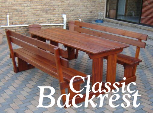 Outdoor wooden table with benches