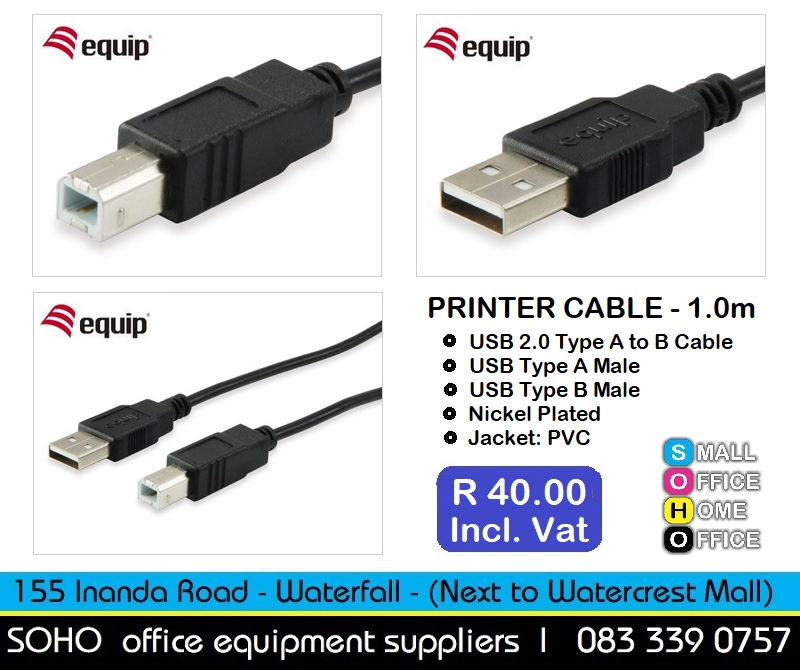 Printer Cable | USB 2.0 Type A to B Cable - 1.0m | R40.00