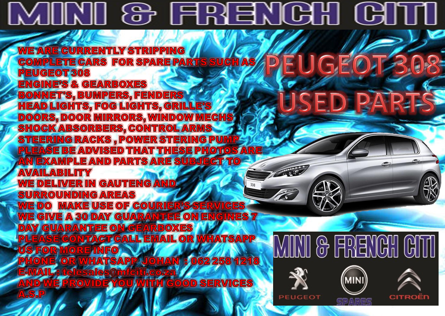 Peugeot 308,307,308cc Used Engine Parts for sale