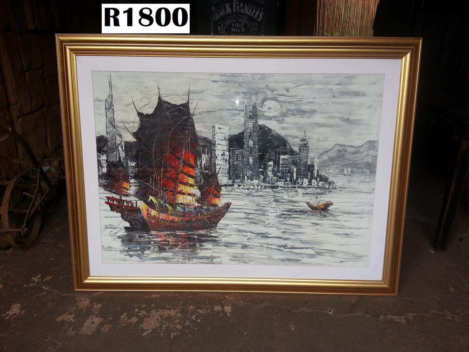 Big Hong Kong Harbor Oil Painting (1525x1165)