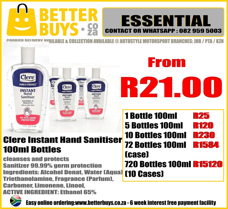 Clere instant hand sanitiser 100ml bottles